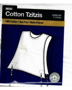 Tzitzis Cotton #18, ROUND Neck, AVODAS YAD,  THIN Tzitzis
