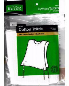 Tzitzis Cotton #18, ROUND Neck, Meyuchad,  THIN Tzitzis