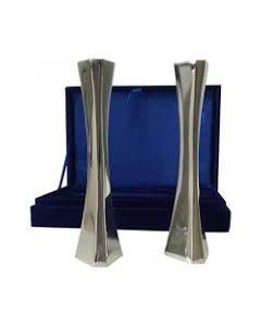 Shabbat candlesticks, Modern Design,Polished Aluminum